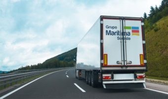 Truck travelling around Spain transporting goods by road
