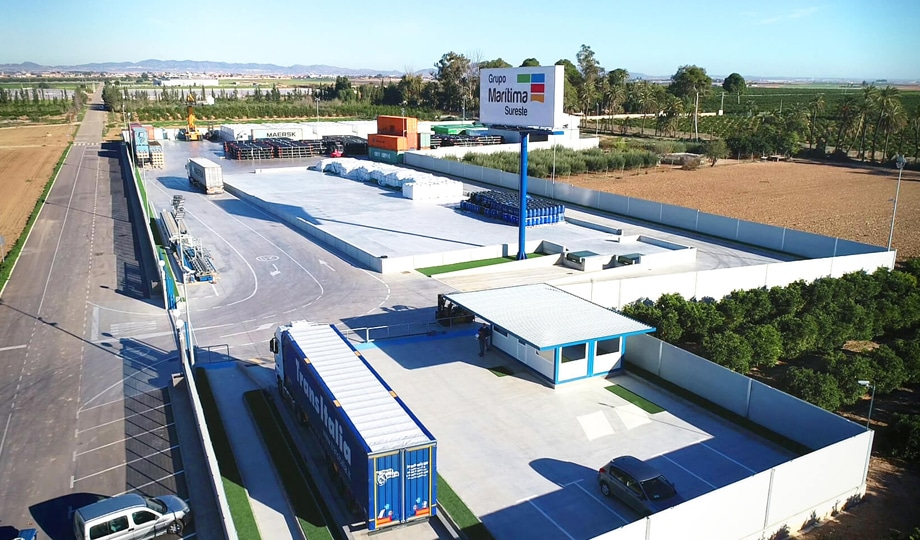 Shipping container depot and open air storage of goods in Campo de Cartagena, Murcia, Spain