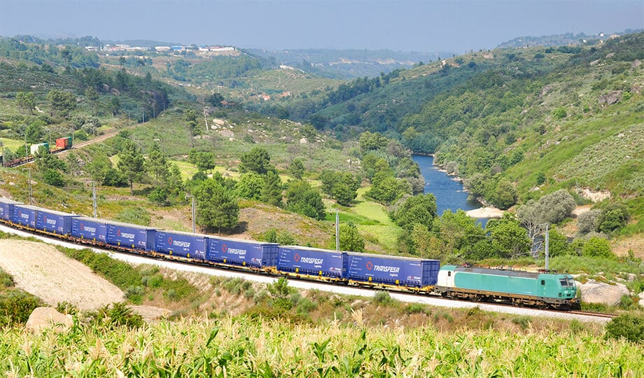 International rail freight United Kingdom Murcia Spain
