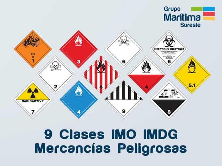 9 Clases de Mercancías peligrosas IMO IMDG para el transporte marítimo