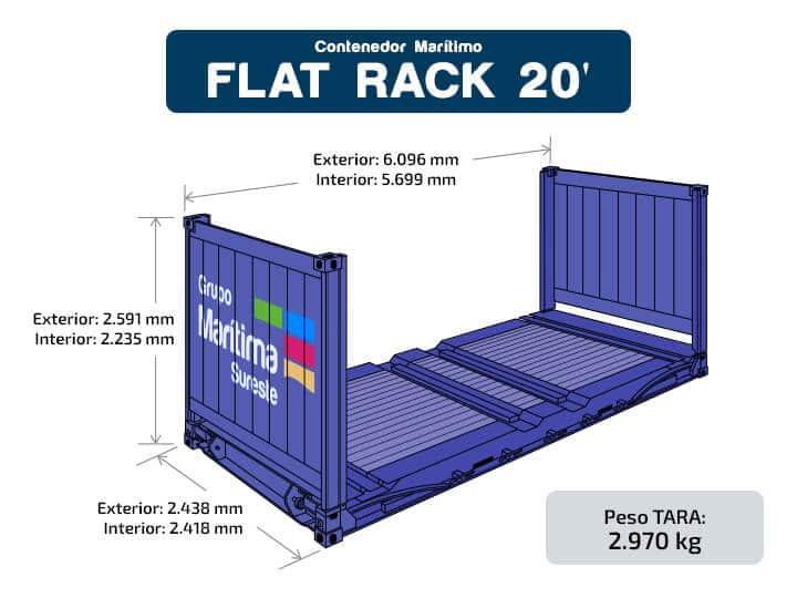 Contenedor marítimo - Flat Rack 20 pies