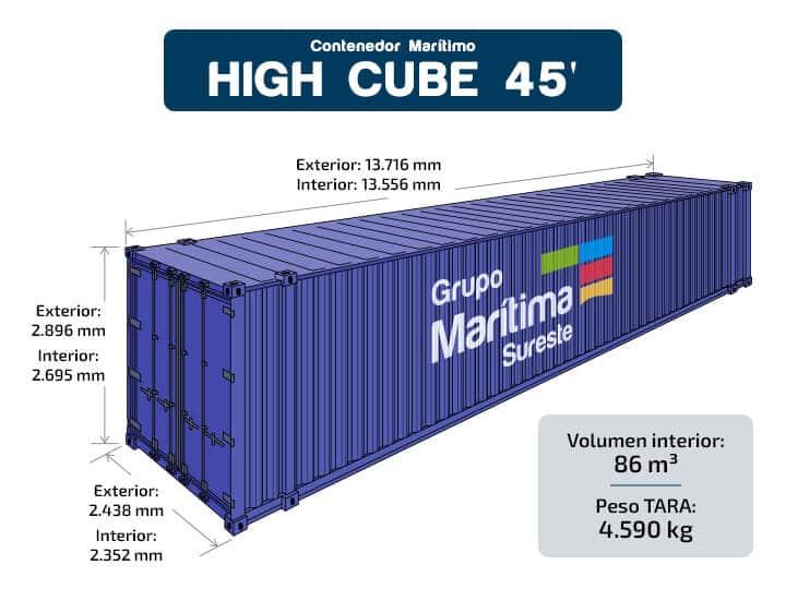 Contenedor marítimo - High Cube 45 pies