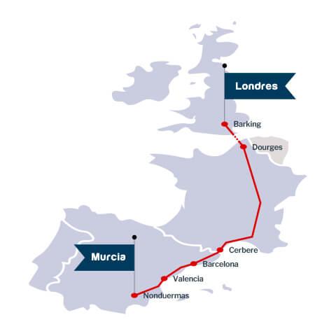 Trazado ruta ferroviaria Murcia UK