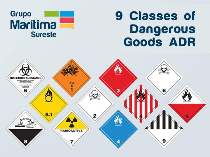 9 Classes of Dangerous Goods ADR for road transport