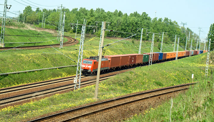 Rail freight transport by land